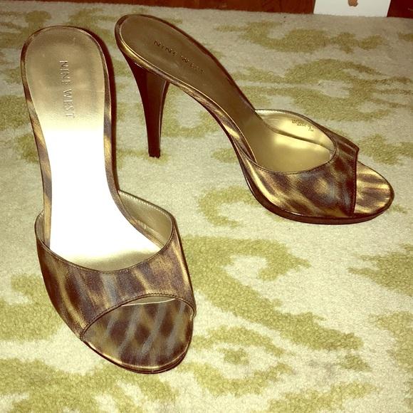 leopard print open toe mules